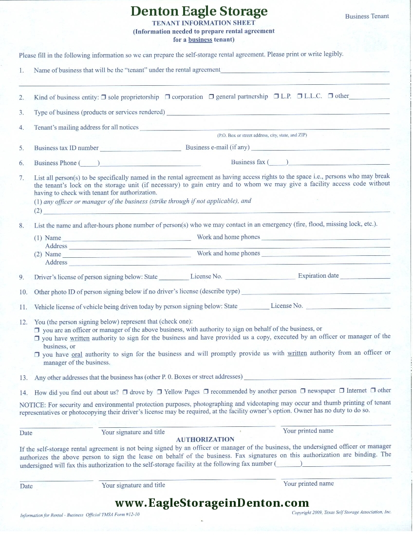 Rental Application Denton Eagle Storage – Tenant Information Form